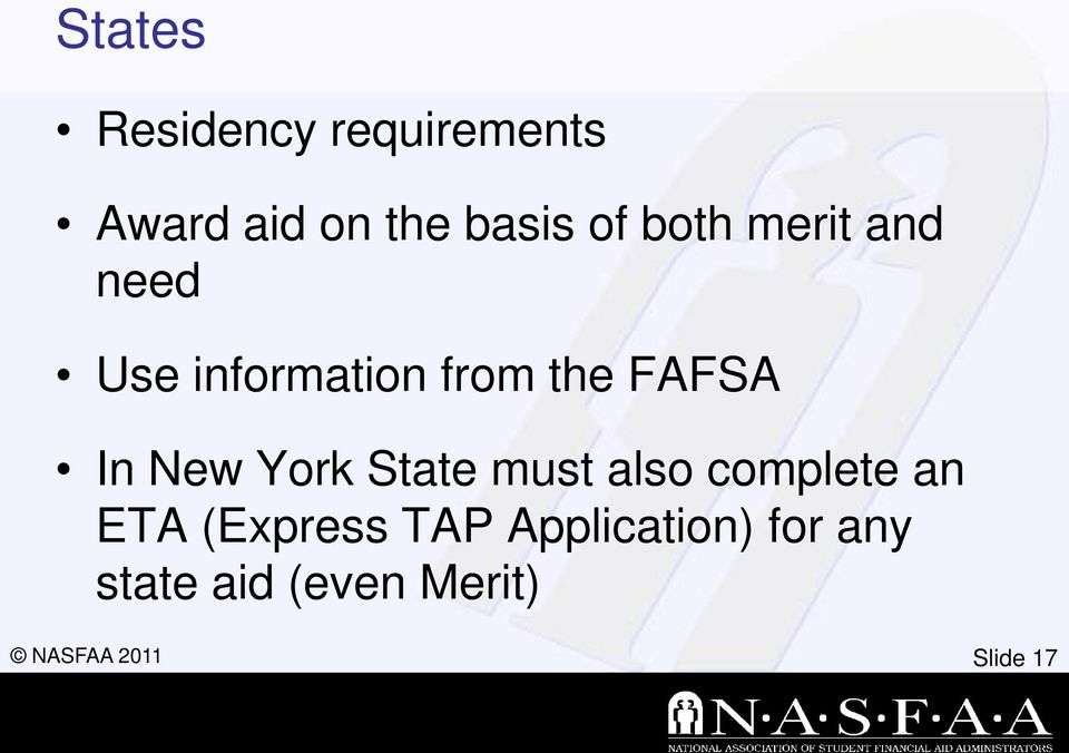 In New York State must also complete an ETA (Express