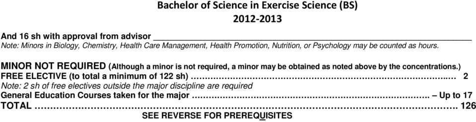 MINOR NOT REQUIRED (Although a minor is not required, a minor may be obtained as noted above by the concentrations.