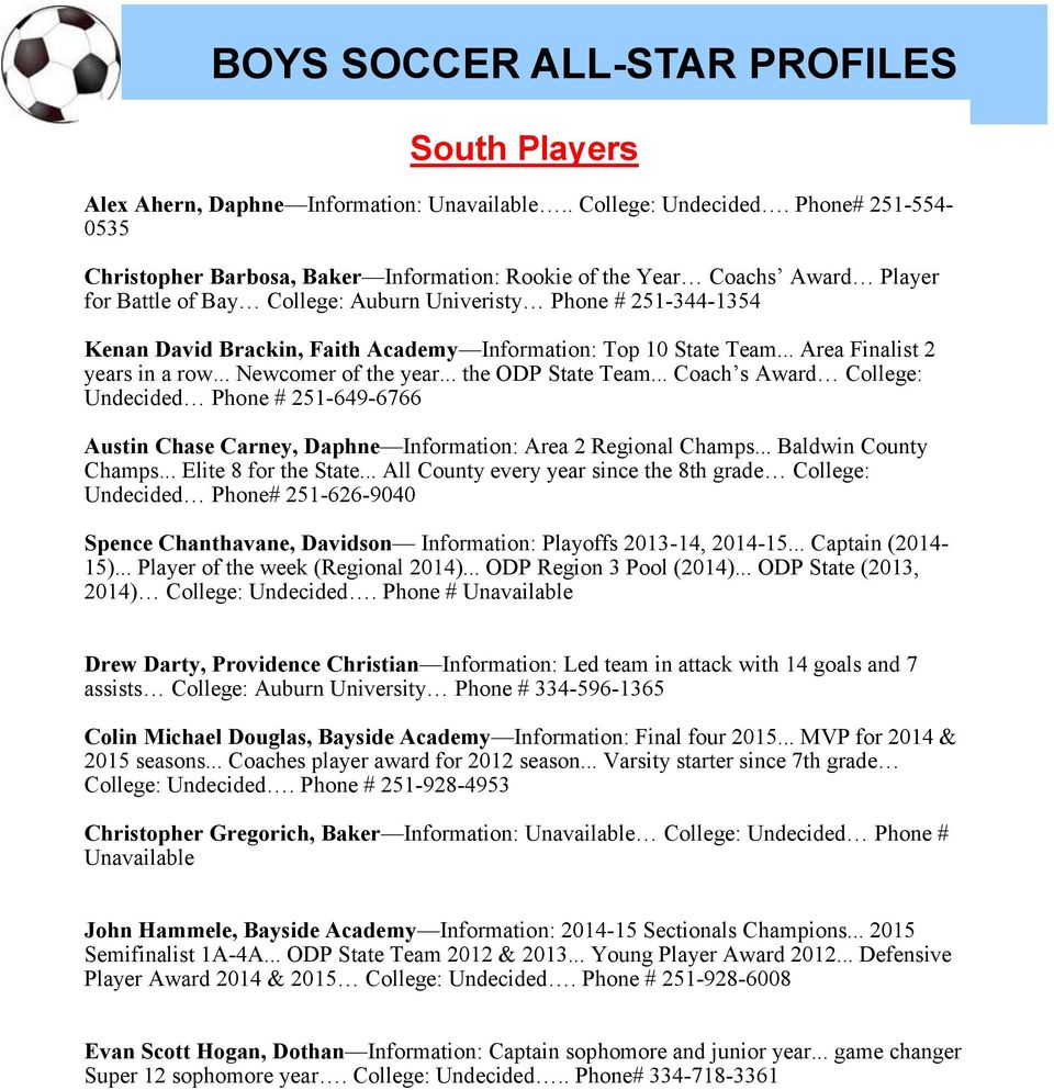 Academy Information: Top 10 State Team... Area Finalist 2 years in a row... Newcomer of the year... the ODP State Team.