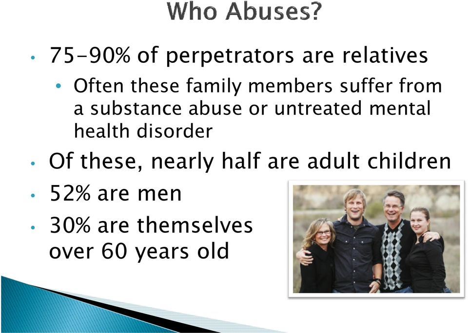 health h disorder d Of these, nearly half are adult children