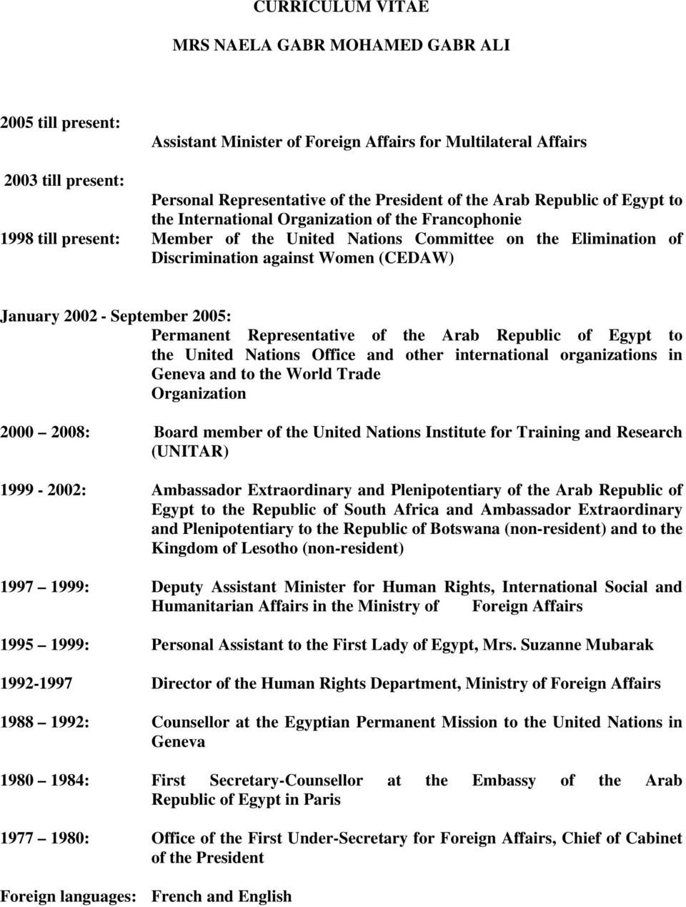 January 2002 - September 2005: Permanent Representative of the Arab Republic of Egypt to the United Nations Office and other international organizations in Geneva and to the World Trade Organization