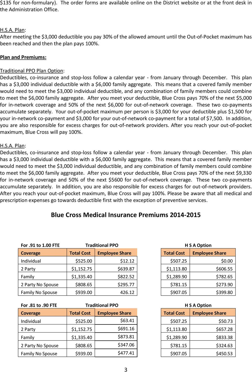 Plan and Premiums: Traditional PPO Plan Option: Deductibles, co-insurance and stop-loss follow a calendar year - from January through December.