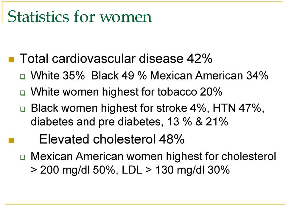 for stroke 4%, HTN 47%, diabetes and pre diabetes, 13 % & 21% Elevated cholesterol
