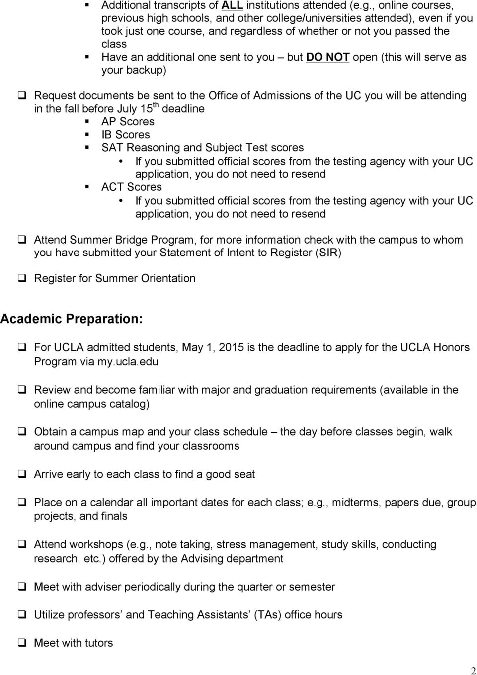 Checklist for Students Admitted to the University of