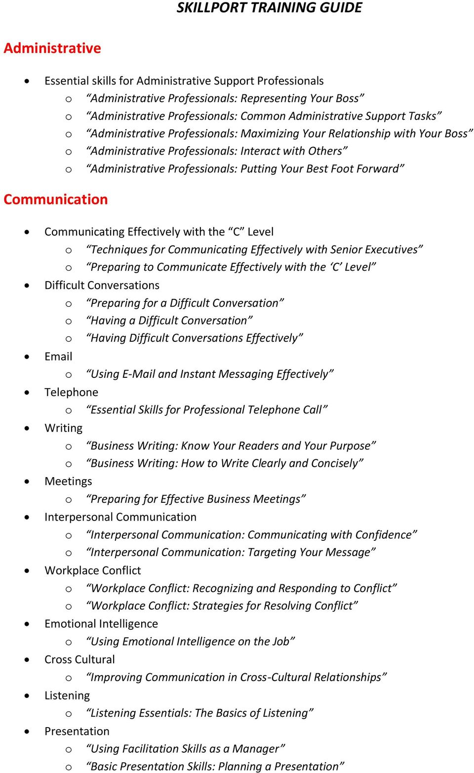 Communication Communicating Effectively with the C Level o Techniques for Communicating Effectively with Senior Executives o Preparing to Communicate Effectively with the C Level Difficult