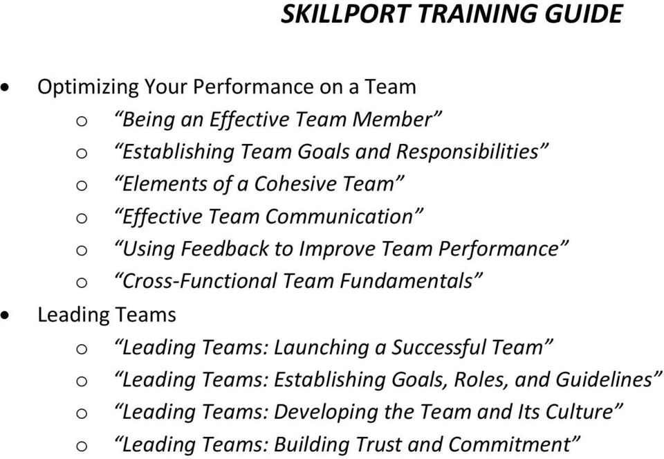 Cross-Functional Team Fundamentals Leading Teams o Leading Teams: Launching a Successful Team o Leading Teams: