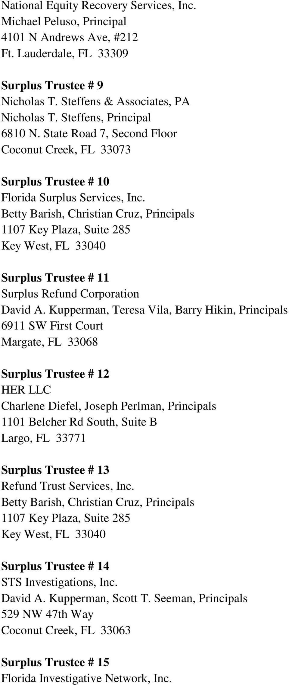 Kupperman, Teresa Vila, Barry Hikin, Principals Surplus Trustee # 12 HER LLC Charlene Diefel, Joseph Perlman, Principals 1101 Belcher Rd South, Suite B Largo, FL 33771 Surplus Trustee # 13 Refund