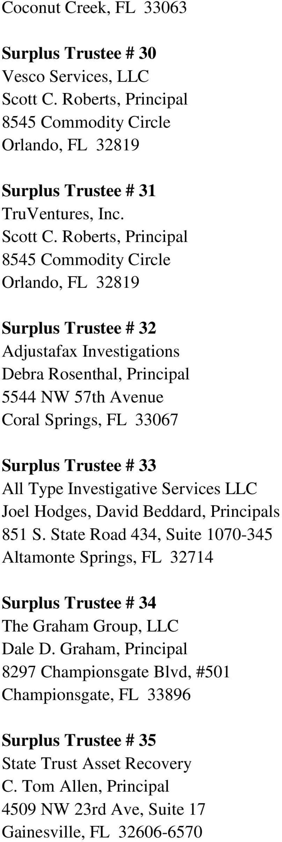 Roberts, Principal 8545 Commodity Circle Orlando, FL 32819 Surplus Trustee # 32 Adjustafax Investigations Debra Rosenthal, Principal 5544 NW 57th Avenue Coral Springs, FL 33067 Surplus