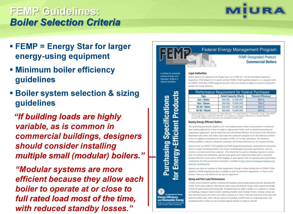 in commercial buildings, designers should consider installing multiple small (modular) boilers.