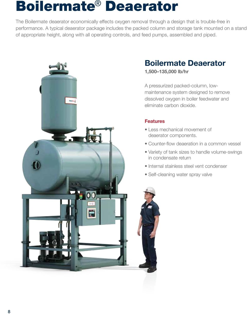 piped. Boilermate Deaerator 1,500 135,000 lb/hr A pressurized packed-column, lowmaintenance system designed to remove dissolved oxygen in boiler feedwater and eliminate carbon dioxide.