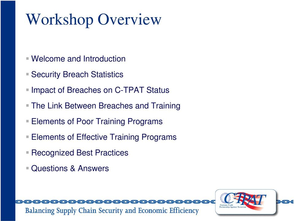 Breaches and Training Elements of Poor Training Programs Elements