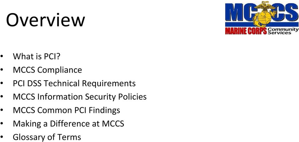 Requirements MCCS Information Security