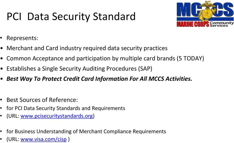 Credit Card Information For All MCCS Activities.