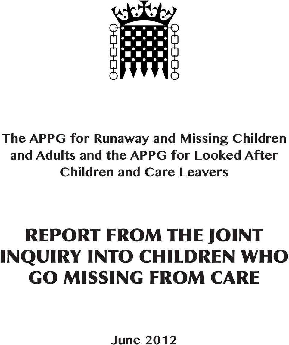 and Care Leavers REPORT FROM THE JOINT INQUIRY