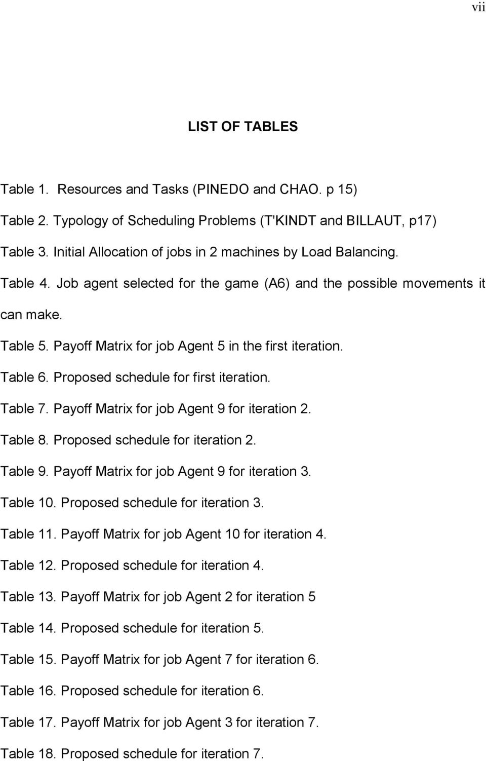 Payoff Matrx for job Agent 9 for teraton 2. Table 8. Proposed schedule for teraton 2. Table 9. Payoff Matrx for job Agent 9 for teraton 3. Table 10. Proposed schedule for teraton 3. Table 11.