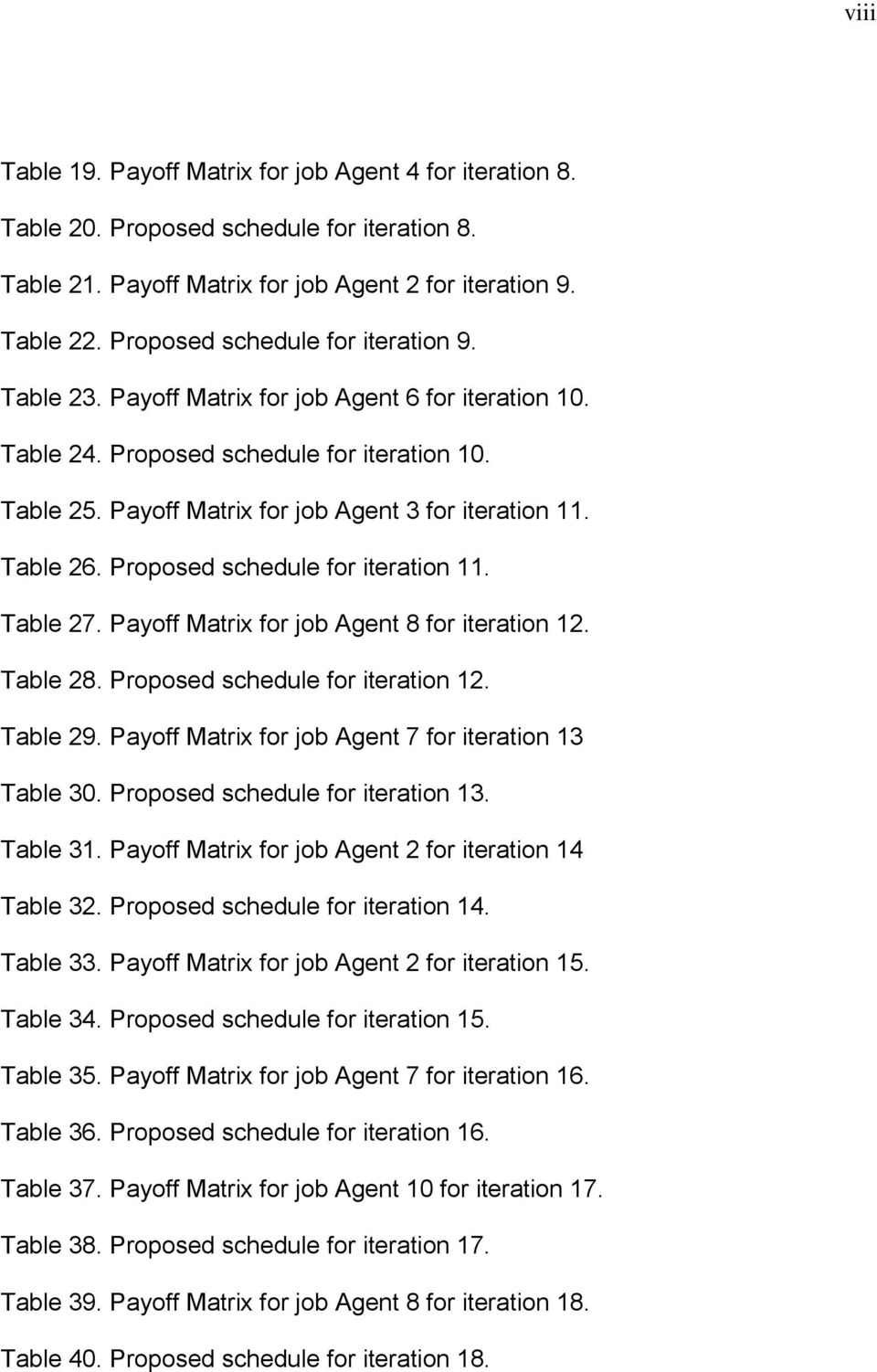 Table 27. Payoff Matrx for job Agent 8 for teraton 12. Table 28. Proposed schedule for teraton 12. Table 29. Payoff Matrx for job Agent 7 for teraton 13 Table 30. Proposed schedule for teraton 13.