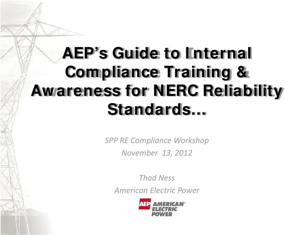 Standards SPP RE Compliance Workshop