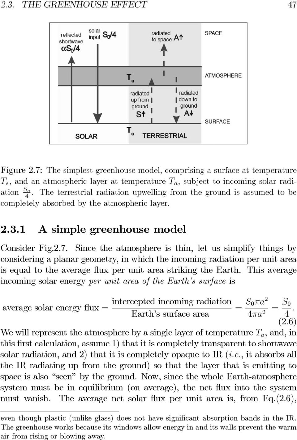 The terrestrial radiation upwelling from the ground is assumed to be completely absorbed by the atmospheric layer. 2.3.1 A simple greenhouse model Consider Fig.2.7.