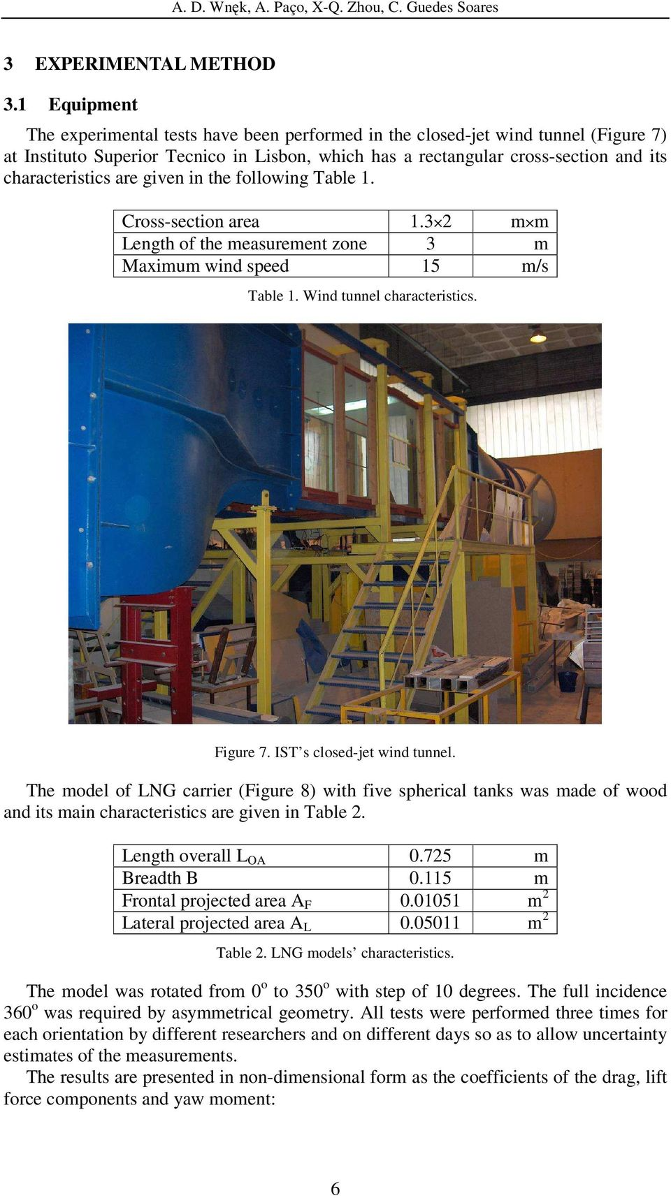 are given in the following Table 1. Cross-section area 1.3 m m Length of the measurement zone 3 m Maximum wind speed 15 m/s Table 1. Wind tunnel characteristics. Figure 7.