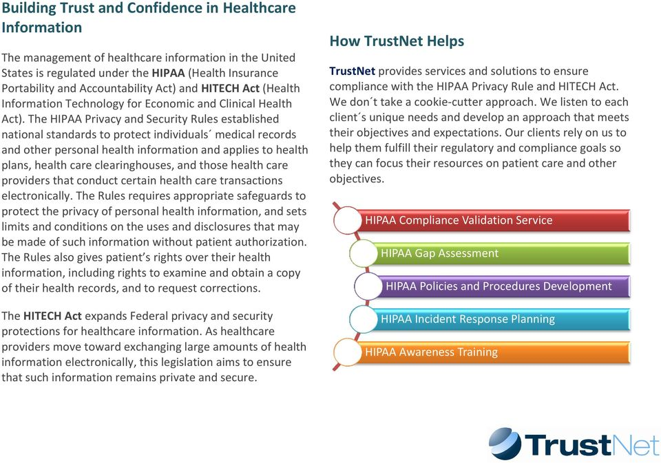 The HIPAA Privacy and Security Rules established national standards to protect individuals medical records and other personal health information and applies to health plans, health care