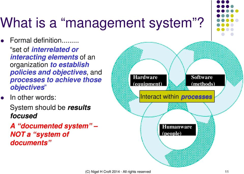 and processes to achieve those objectives In other words: System should be results focused A documented