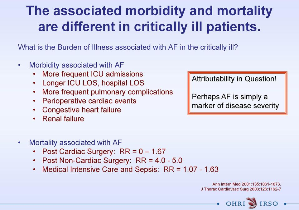 Congestive heart failure Renal failure Attributability in Question!