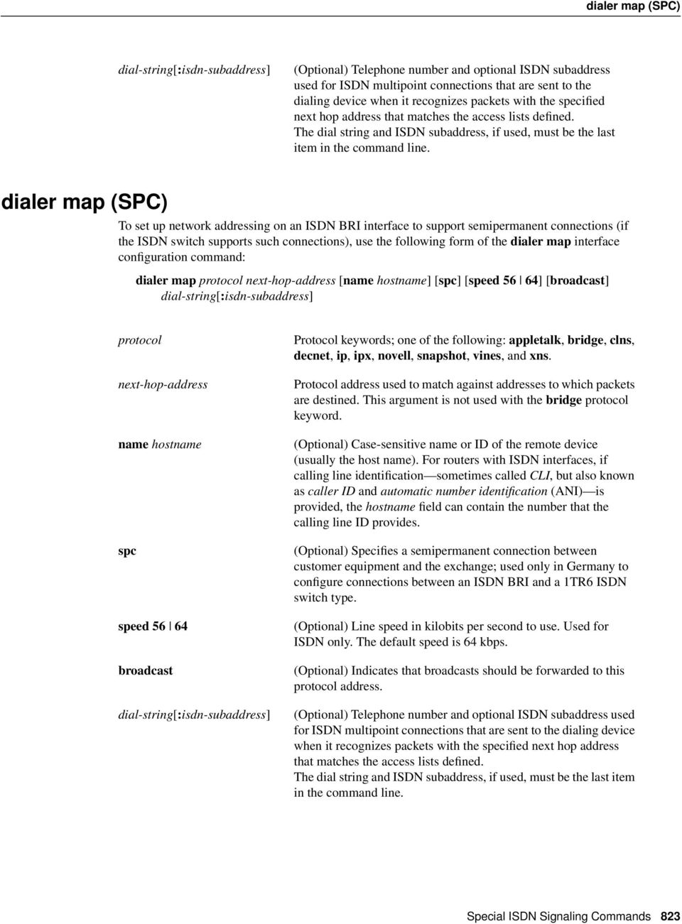 dialer map (SPC) To set up network addressing on an ISDN BRI interface to support semipermanent connections (if the ISDN switch supports such connections), use the following form of the dialer map