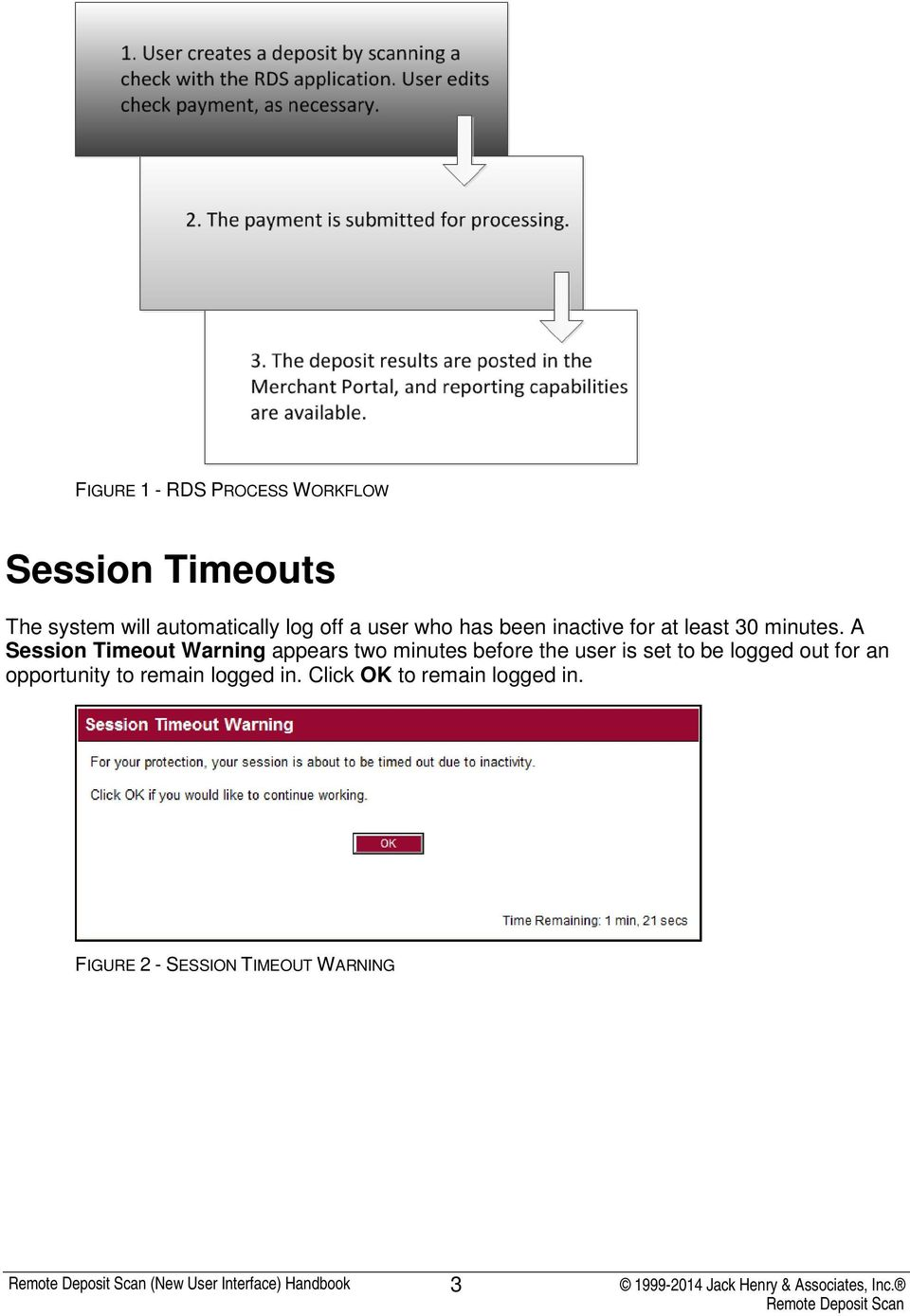 A Session Timeout Warning appears two minutes before the user is set to be logged