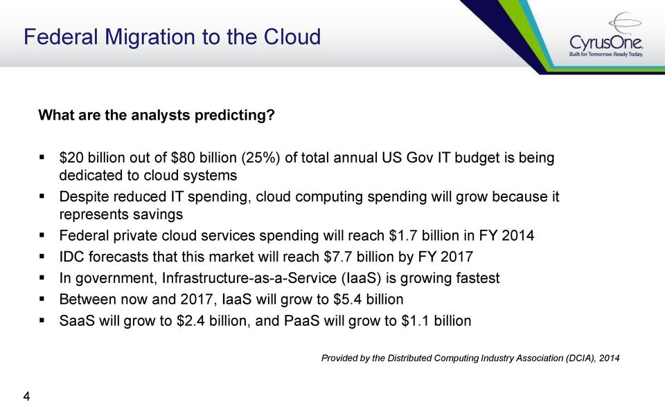 grow because it represents savings Federal private cloud services spending will reach $1.7 billion in FY 2014 IDC forecasts that this market will reach $7.