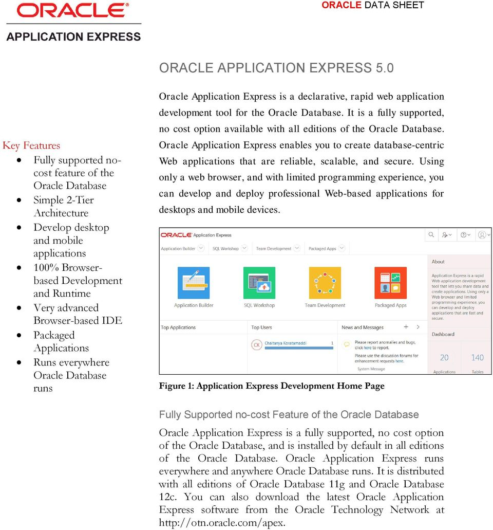 Browser-based IDE Packaged Applications Runs everywhere Oracle Database runs Oracle Application Express is a declarative, rapid web application development tool for the Oracle Database.