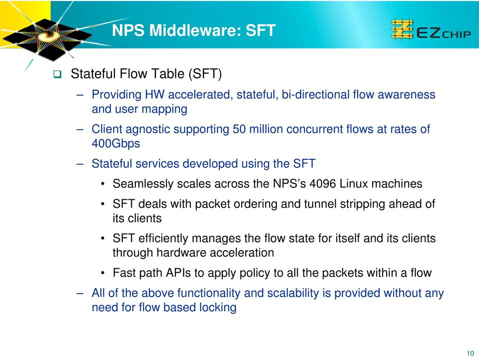 packet ordering and tunnel stripping ahead of its clients SFT efficiently manages the flow state for itself and its clients through hardware acceleration Fast
