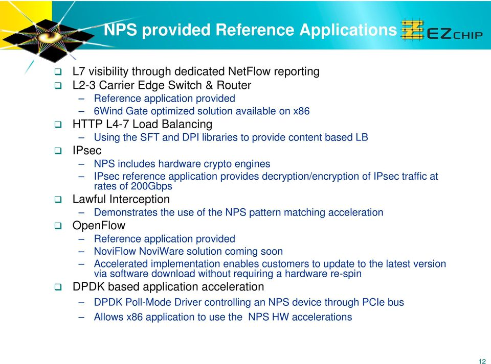 traffic at rates of 200Gbps Lawful Interception Demonstrates the use of the NPS pattern matching acceleration OpenFlow Reference application provided NoviFlow NoviWare solution coming soon