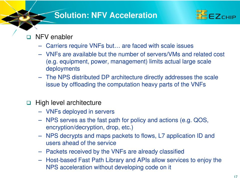 VNFs High level architecture VNFs deployed in servers NPS serves as the fast path for policy and actions (e.g. QOS, encryption/decryption, drop, etc.