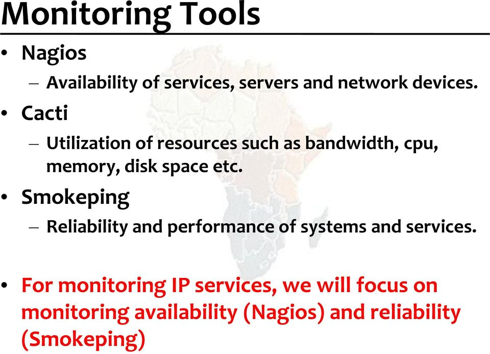 Smokeping Reliability and performance of systems and services.