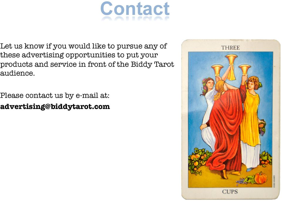 products and service in front of the Biddy Tarot