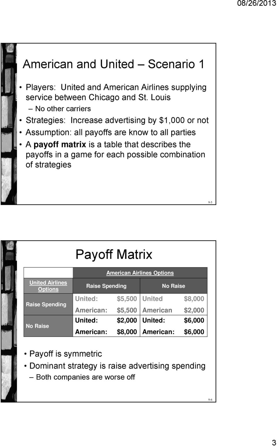 payoffs in a game for each possible combination of strategies 9-5 Payoff Matrix American Airlines Options United Airlines Options Raise Spending No Raise Raise Spending