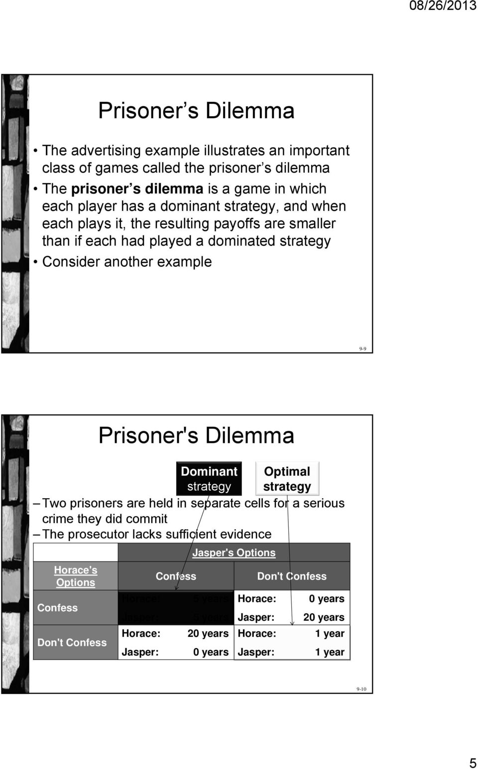 Dominant Optimal strategy strategy Two prisoners are held in separate cells for a serious crime they did commit The prosecutor lacks sufficient evidence Horace's Options