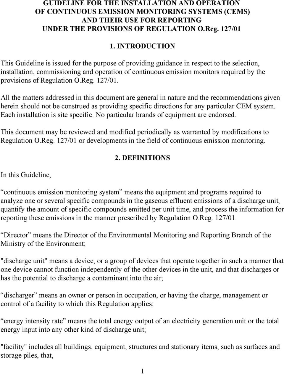 provisions of Regulation O.Reg. 127/01.