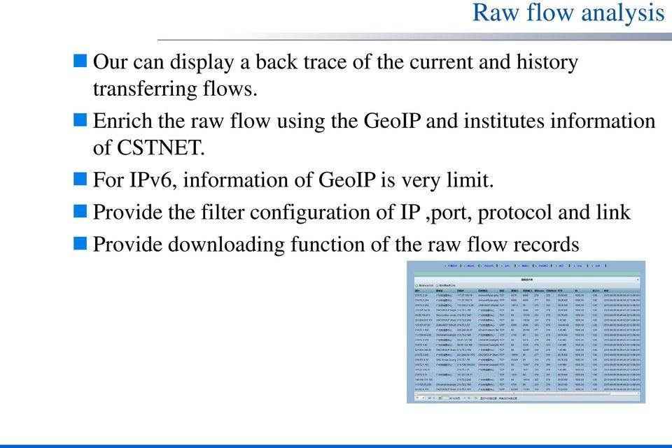 Enrich the raw flow using the GeoIP and institutes information of CSTNET.