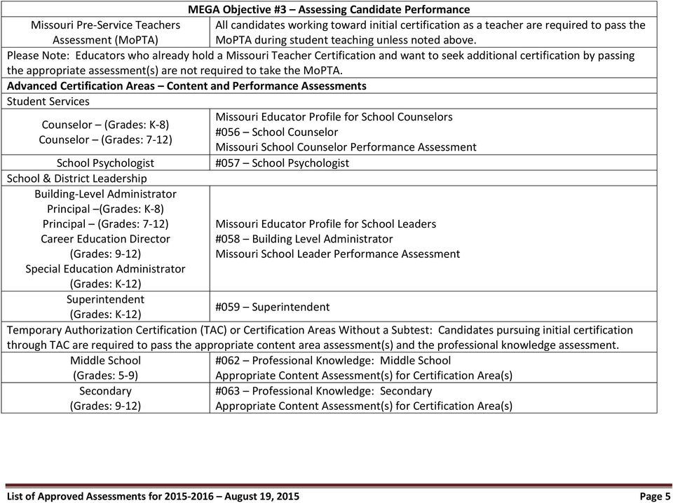 List of Approved Assessments for August 19, 2015 Page 1 - PDF