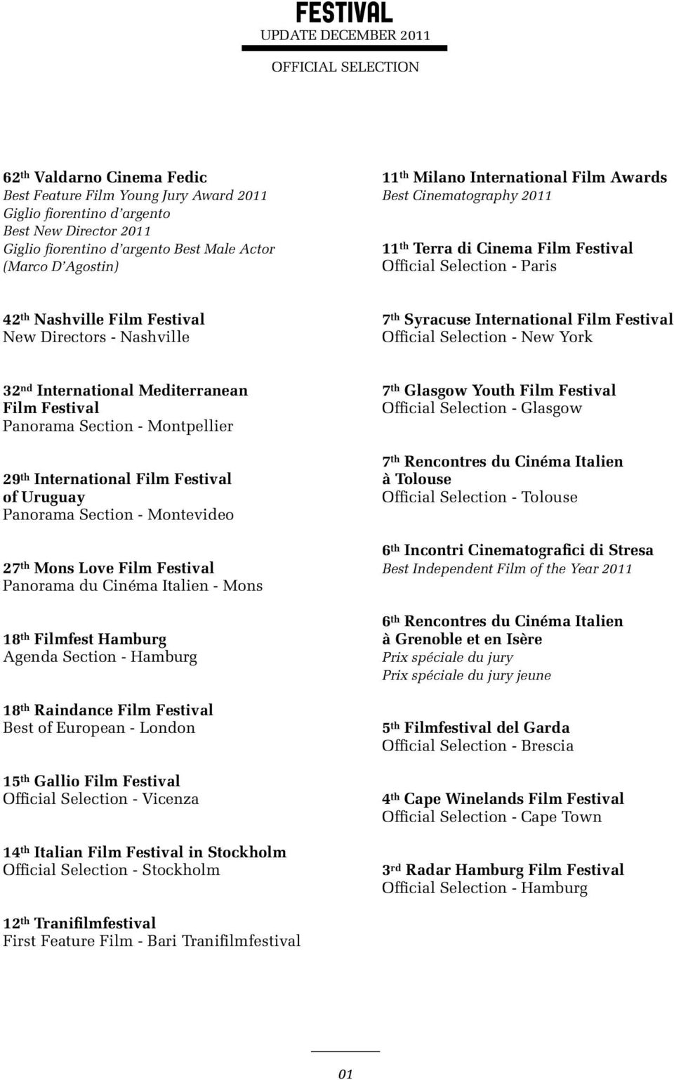 Directors - Nashville 7 th Syracuse International Film Festival Official Selection - New York 32 nd International Mediterranean Film Festival Panorama Section - Montpellier 29 th International Film
