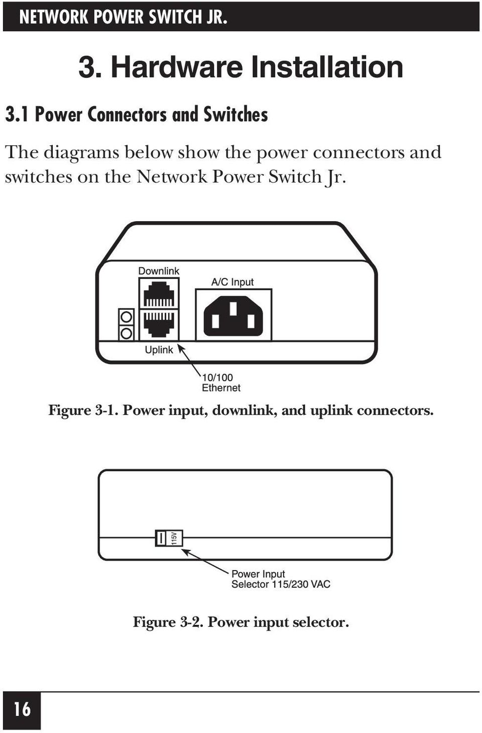 connectors and switches on the Network Power Switch Jr. Figure 3-1.