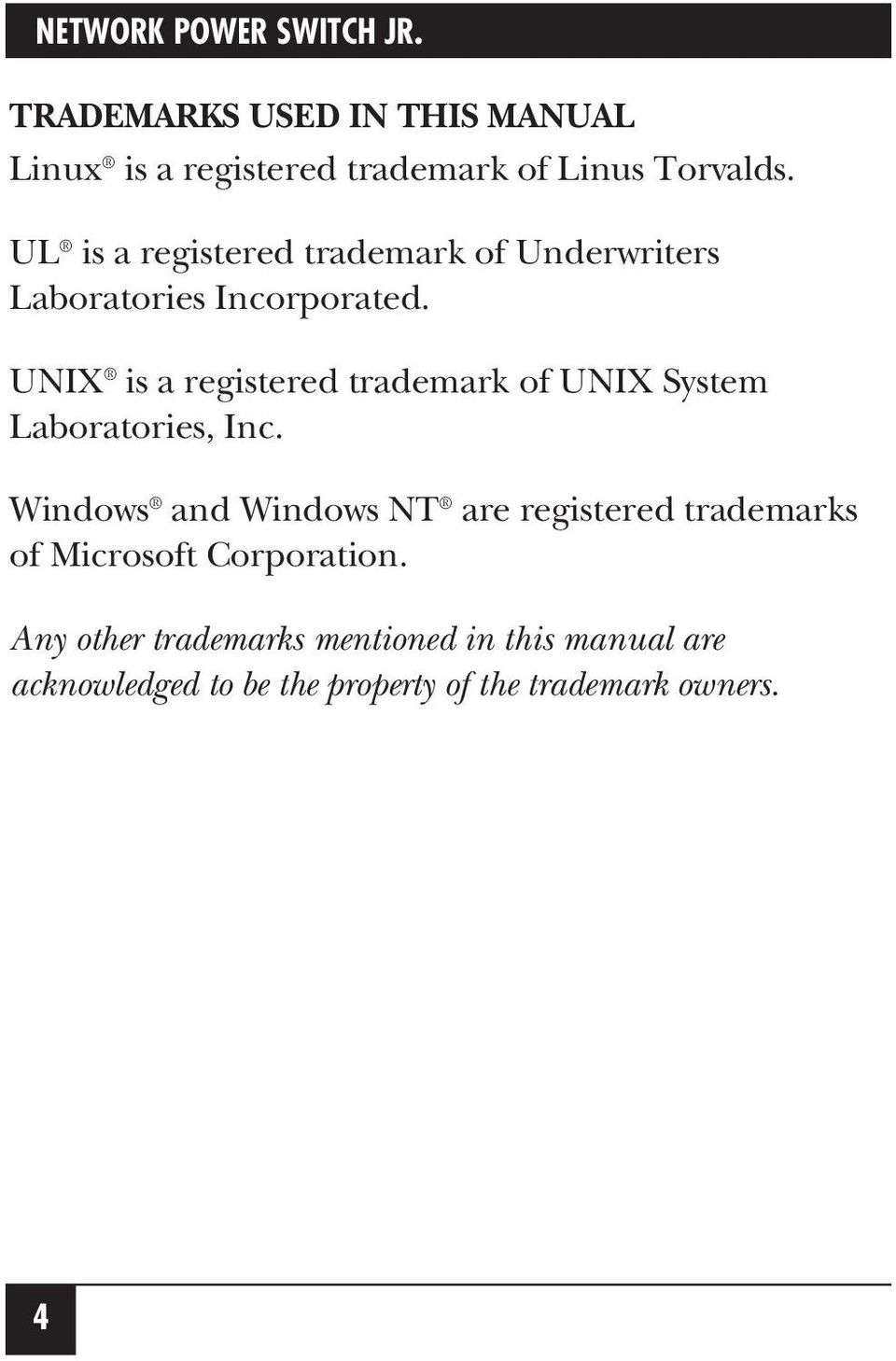 UNIX is a registered trademark of UNIX System Laboratories, Inc.
