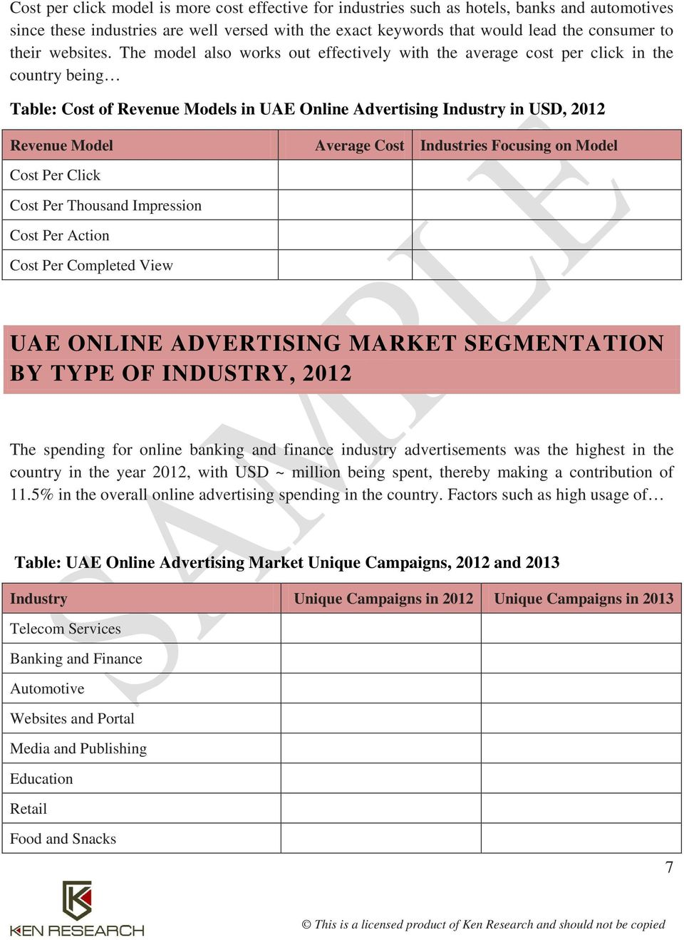 The model also works out effectively with the average cost per click in the country being Table: Cost of Revenue Models in UAE Online Advertising Industry in USD, 2012 Revenue Model Average Cost