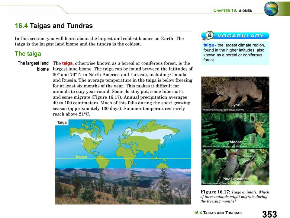 The taiga can be found between the latitudes of 50 and 70 N in North America and Eurasia, including Canada and Russia.