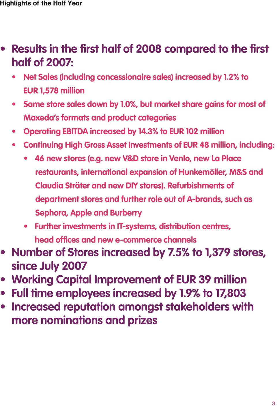 3% to EUR 102 million Continuing High Gross Asset Investments of EUR 48 million, including: 46 new stores (e.g. new V&D store in Venlo, new La Place restaurants, international expansion of Hunkemöller, M&S and Claudia Sträter and new DIY stores).