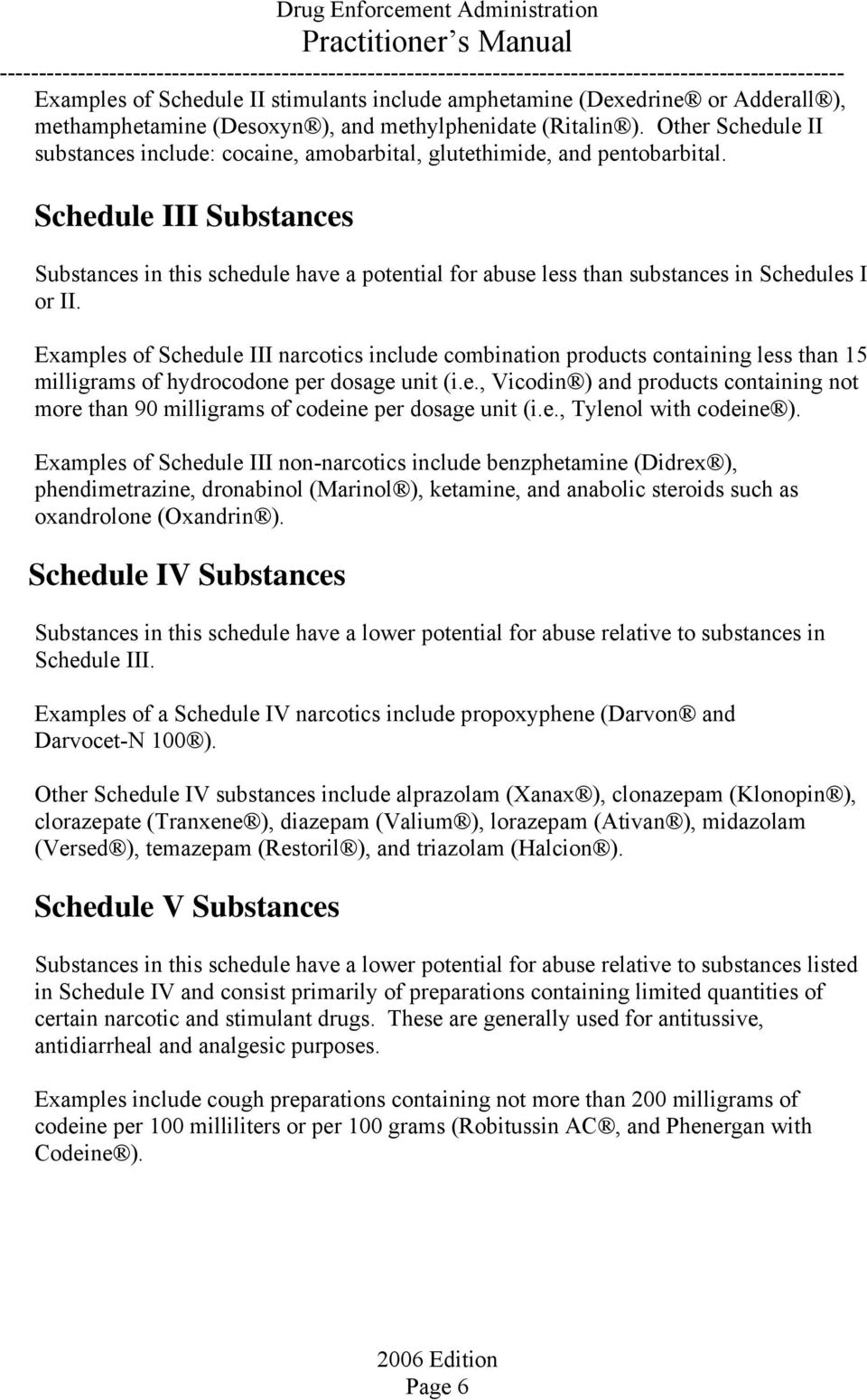 Schedule III Substances Substances in this schedule have a potential for abuse less than substances in Schedules I or II.