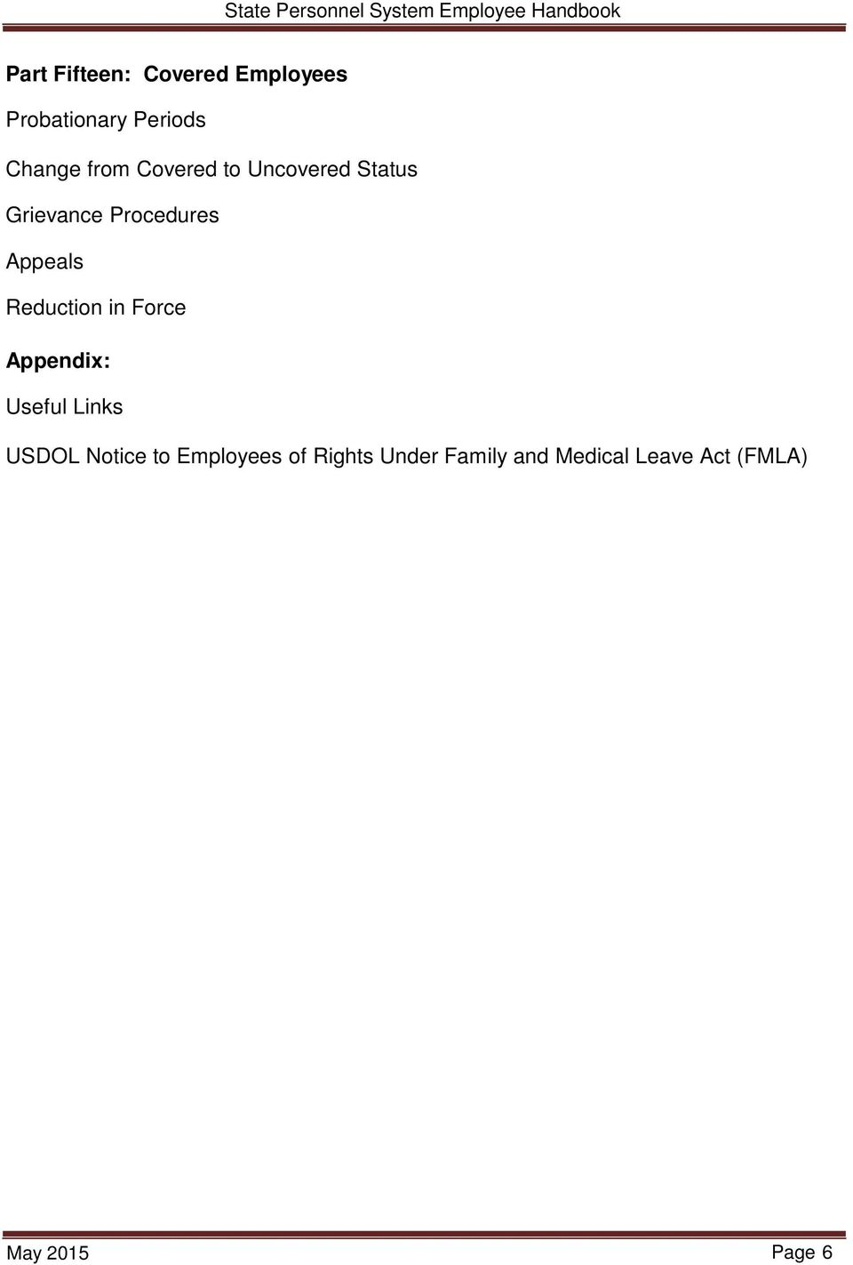 Reduction in Force Appendix: Useful Links USDOL Notice to