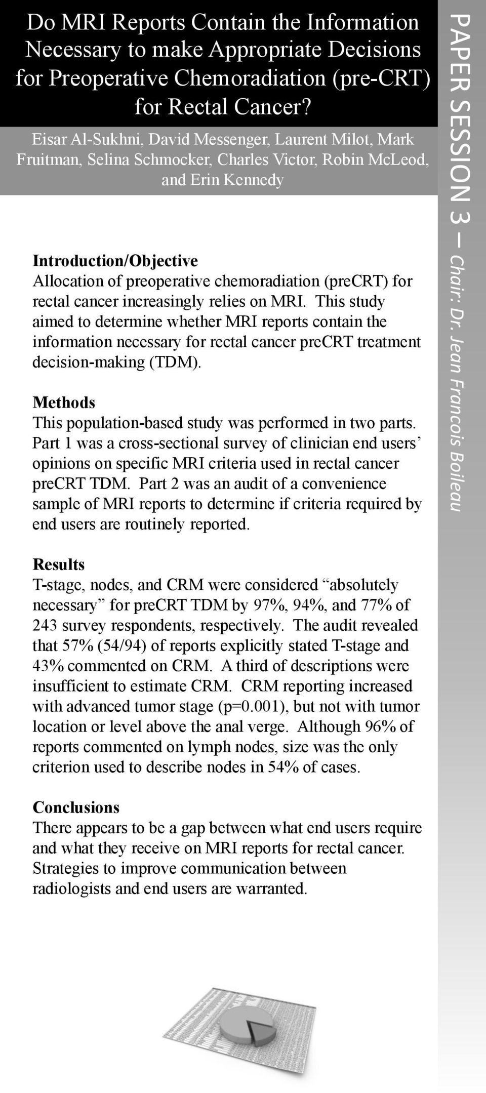 (precrt) for rectal cancer increasingly relies on MRI. This study aimed to determine whether MRI reports contain the information necessary for rectal cancer precrt treatment decision-making (TDM).