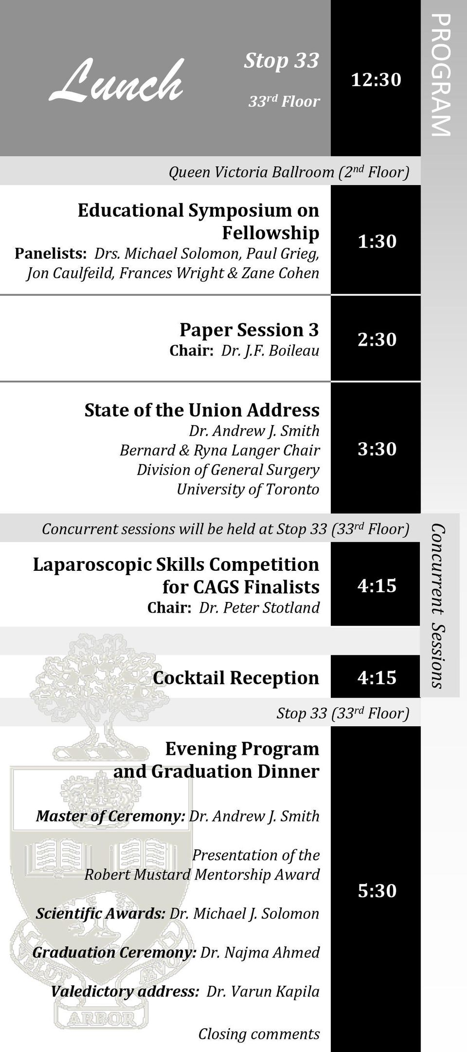 Smith Bernard & Ryna Langer Chair Division of General Surgery University of Toronto 3:30 Concurrent sessions will be held at Stop 33 (33 rd Floor) Laparoscopic Skills Competition for CAGS Finalists